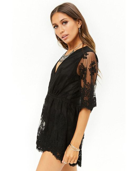 ce00aca1dcc ... Forever 21 - Black Embroidered Tulle Romper - Lyst