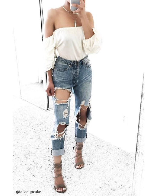 Forever 21 | Natural Ruched Off-the-shoulder Top | Lyst
