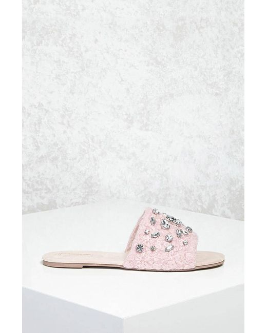 Forever 21 - Pink Faux Shearling Slides - Lyst