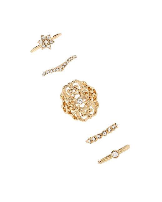 Forever 21 - Metallic Rhinestone-embellished Ring Set - Lyst