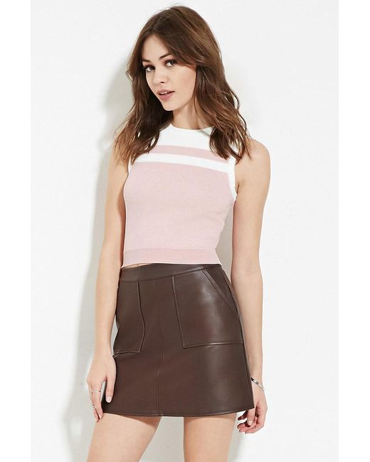 Forever 21 | Pink Contrast Paneled Top | Lyst