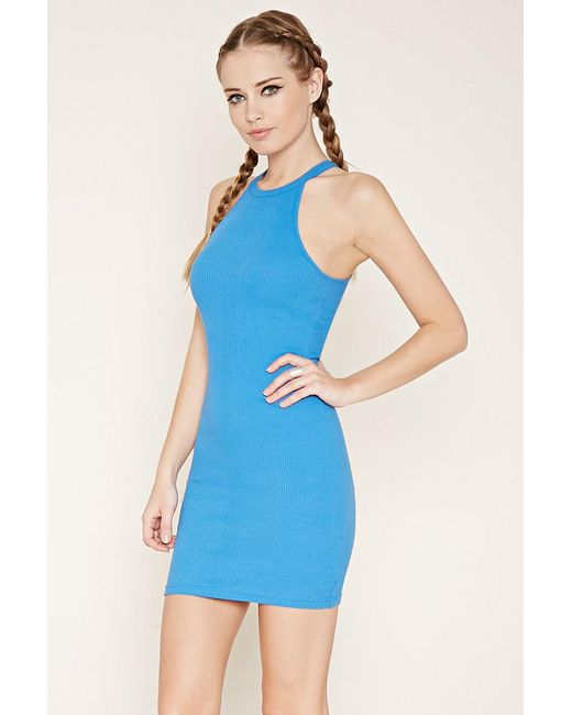 Forever 21 | Blue Ribbed Knit Mini Dress | Lyst