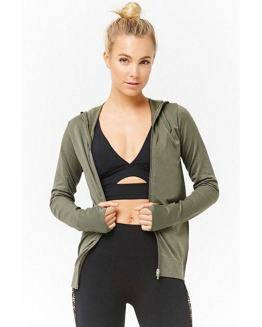 Forever 21 - Green Women's Active Textured Zip-front Jacket - Lyst