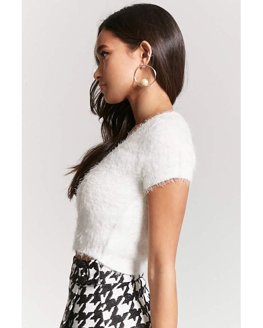 Forever 21 Fuzzy Knit Cropped Knittop In White Lyst
