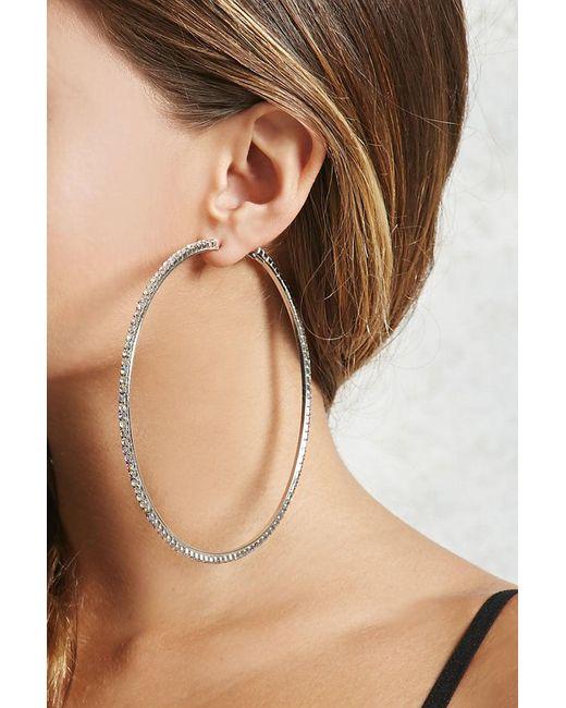 Forever 21 | Metallic Rhinestone Hoop Earrings | Lyst