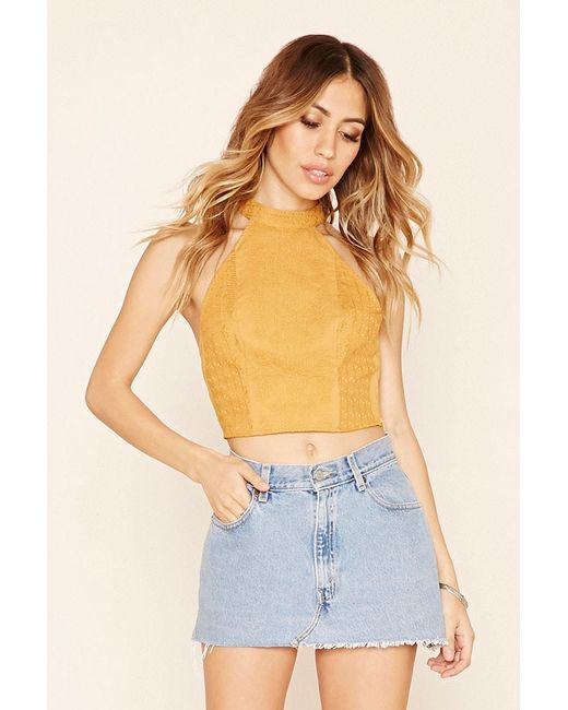 Forever 21   Yellow Abstract Embroidered Crop Top   Lyst