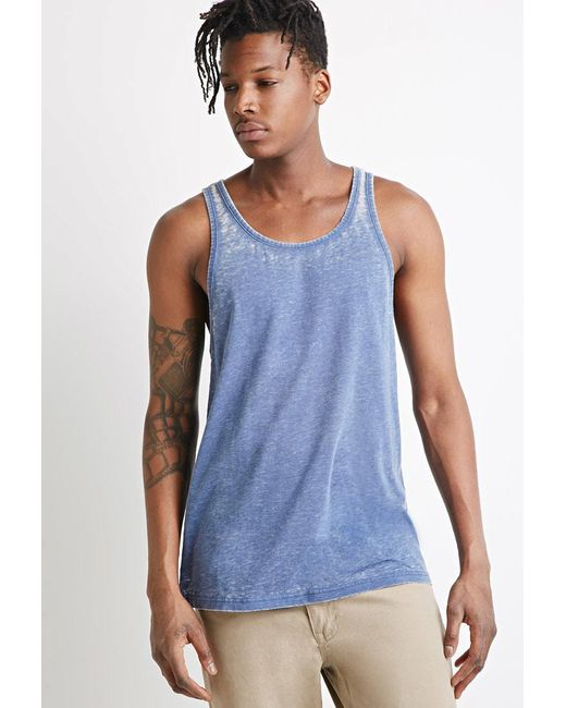 Forever 21 | Blue Heathered Tank for Men | Lyst