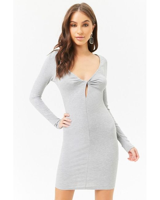 Forever 21 - Gray Ribbed Knit Bodycon Dress , Heather Grey - Lyst