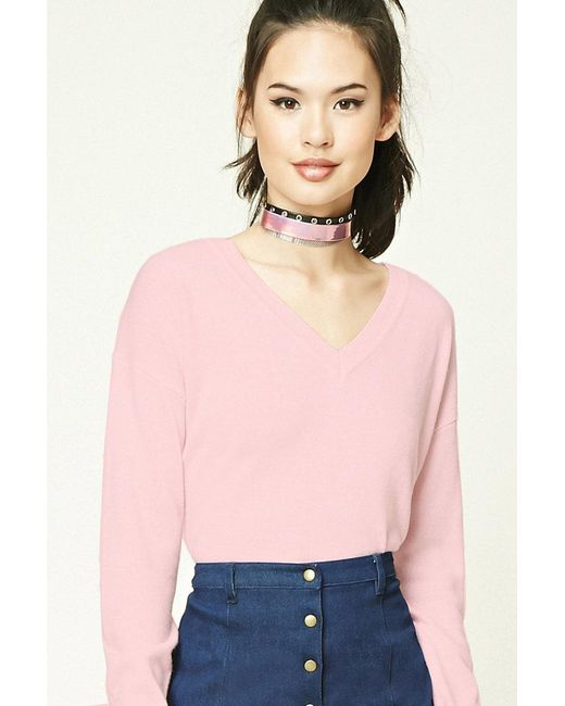 Forever 21 | Pink Contemporary V-neck Sweater | Lyst