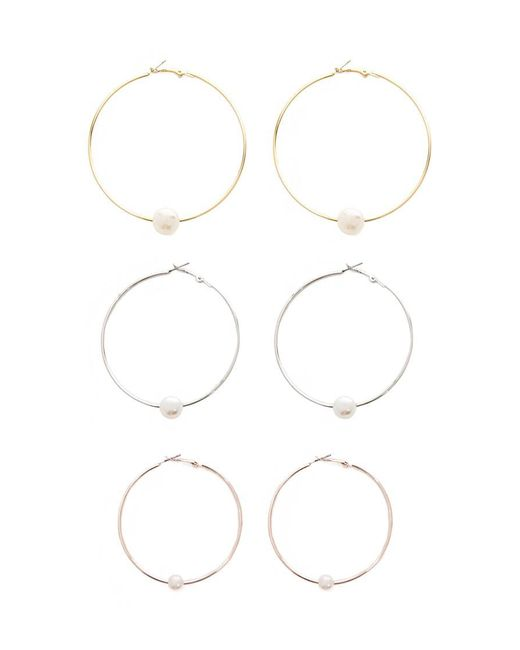 Forever 21 - Multicolor Faux Pearl Hoop Earring Set - Lyst