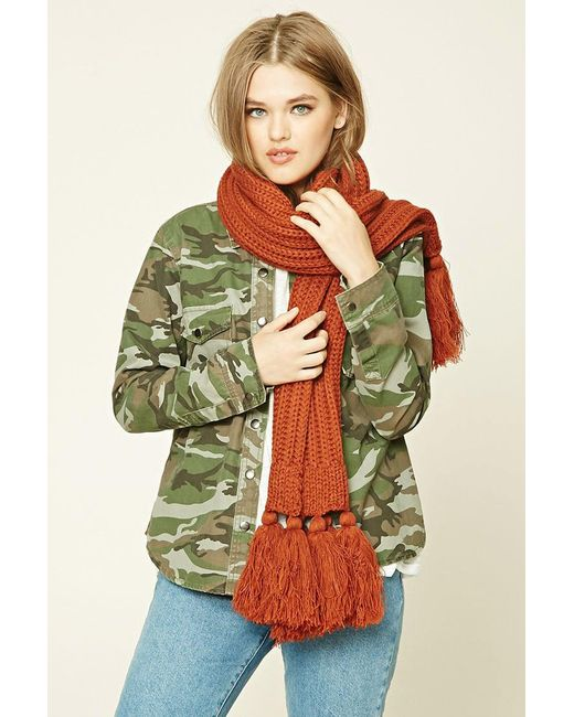 Forever 21   Brown Tassled Ribbed Knit Scarf   Lyst