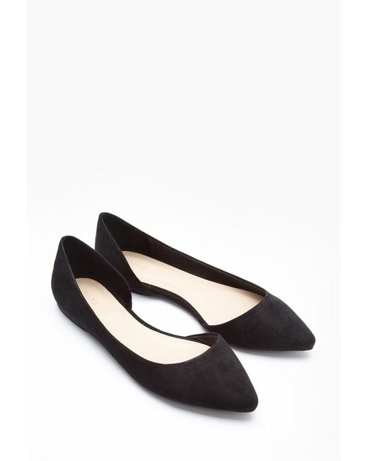 Forever 21 - Black Pointed Faux Suede Flats - Lyst