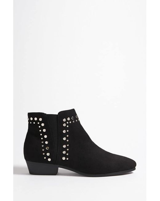 Forever 21 - Black Studded Faux Suede Ankle Boots - Lyst