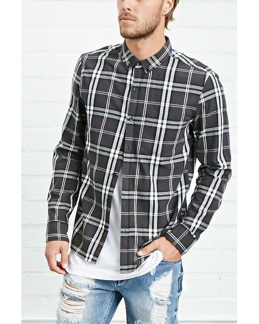 Forever 21 | Black Tartan Check Shirt for Men | Lyst