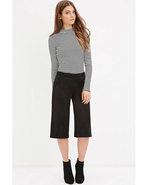 Forever 21 - Black Faux Suede Culottes - Lyst