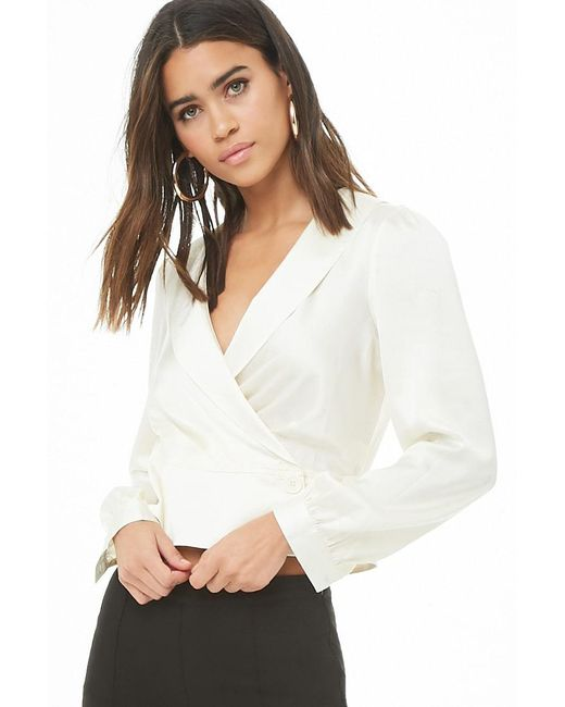 bc0a0f89bc8a7 Forever 21 - White Satin Wrap Top - Lyst ...