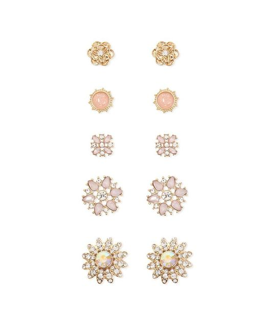 Forever 21 - Metallic Faux Gem Flower Stud Earring Set - Lyst