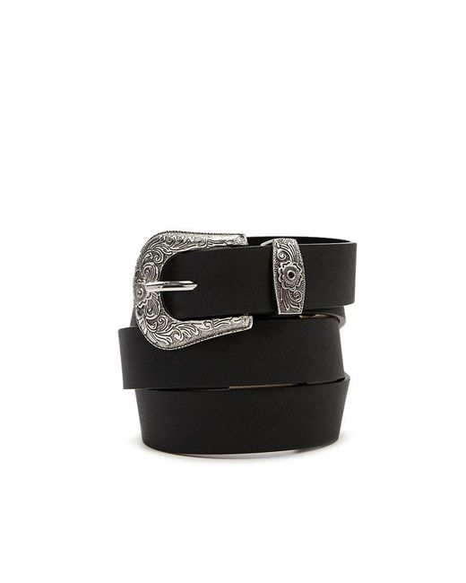 Forever 21 - Black Faux Leather Etched-buckle Hip Belt - Lyst