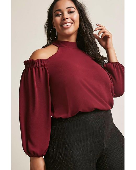Forever 21 | Red Plus Size Open-shoulder Trapeze Top | Lyst