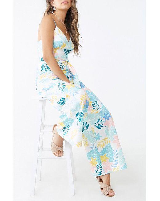 Forever 21 - Blue Tropical Floral Print Jumpsuit - Lyst