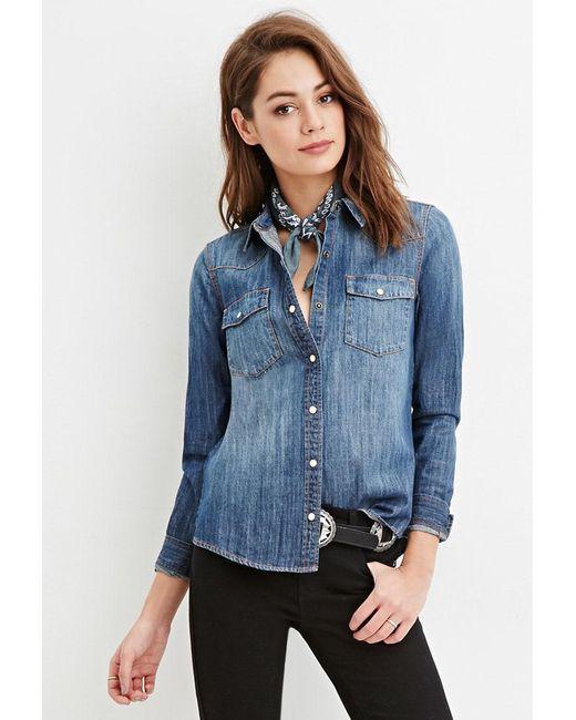 Forever 21 | Blue Snap-buttoned Denim Shirt | Lyst