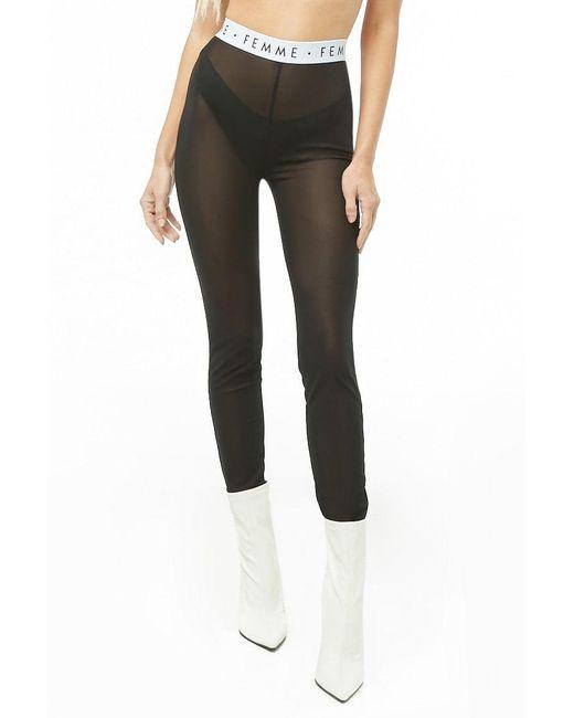7ad4c4c6c24d9f Forever 21 Femme Graphic Mesh Leggings , Black/white in Black - Lyst