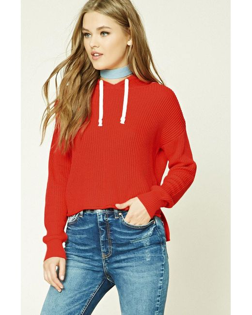Forever 21 - Red Women's Ribbed Dropped-sleeve Hoodie - Lyst
