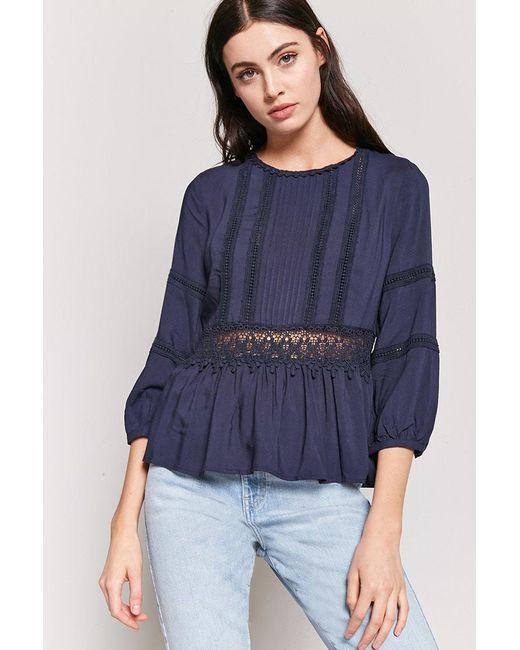 Forever 21 - Blue Pintuck Crochet Top - Lyst