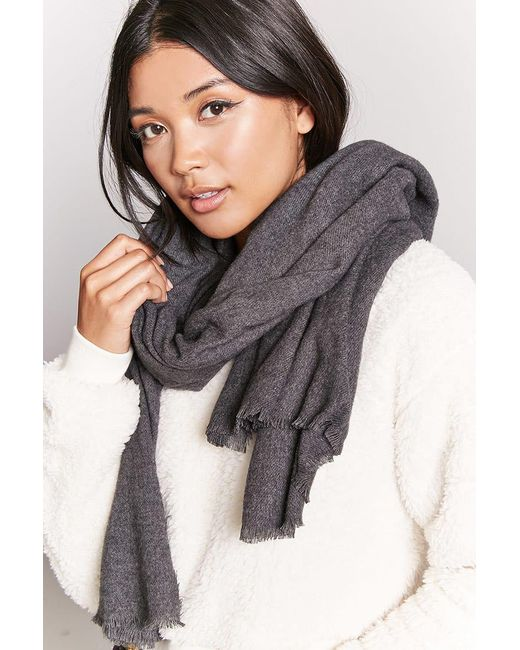 Forever 21 - Gray Frayed Oblong Scarf - Lyst