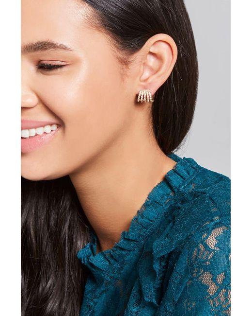 Forever 21 | Metallic Rhinestone Demi-hoop Stud Earrings | Lyst