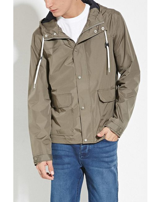 Forever 21 | Green Zip-up Hooded Windbreaker for Men | Lyst