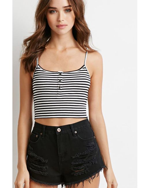Forever 21 | Black Ribbed Knit Stripe Cropped Cami | Lyst