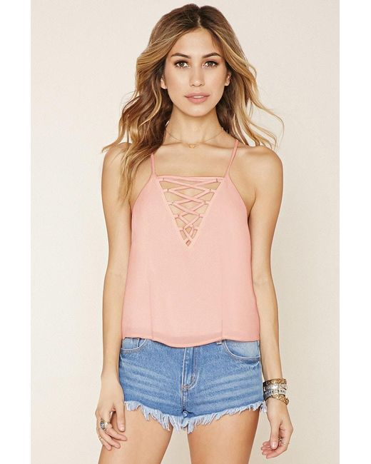Forever 21 | Pink Crisscross-front Cami | Lyst