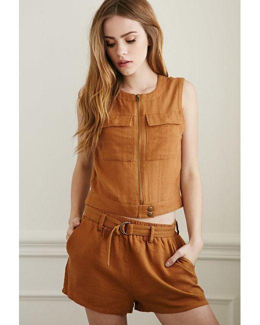 Forever 21   Brown Belted Linen-blend Shorts   Lyst