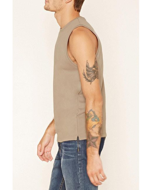 ... Forever 21 | Brown French Terry Muscle Tee for Men | Lyst ...