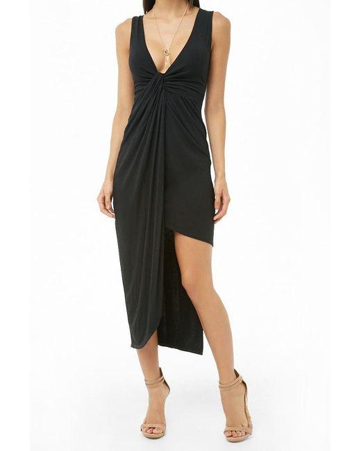 Forever 21 - Black Asymmetrical Midi Dress - Lyst