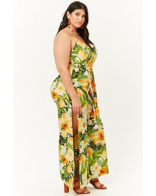 138a2e04b37f2 ... Forever 21 - Yellow Women s Plus Size Tropical Floral Print Jumpsuit ...