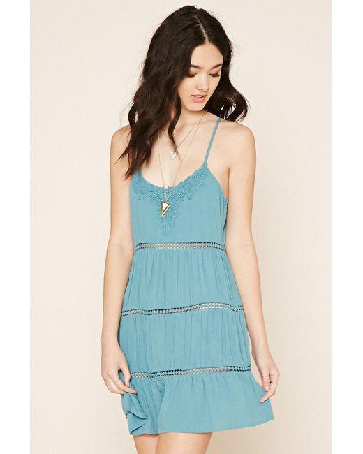 Forever 21 | Blue Crochet Gauze Cami Dress | Lyst