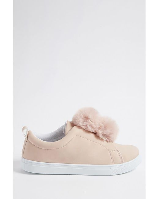 Forever 21 - Pink Faux Leather Low-top Pom Pom Sneakers - Lyst