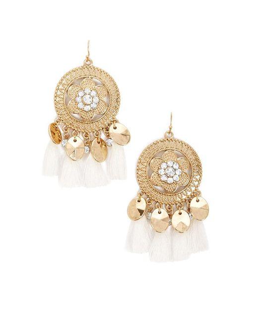 Forever 21 - Metallic Embossed Rhinestone Tassel Chandelier Earrings - Lyst