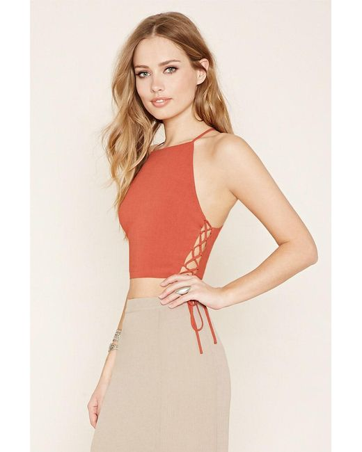 Forever 21 - Red Lace-up Cropped Cami - Lyst