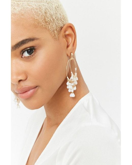 Forever 21 - Metallic Beaded Drop Hoop Earrings - Lyst