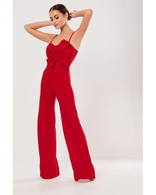 Missguided - Red Bow Jumpsuit At - Lyst