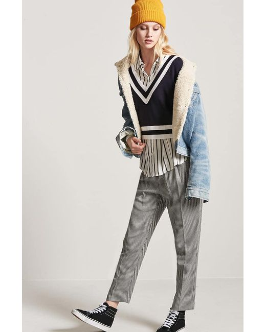 Forever 21 - Blue Stripe V-neckline Sweater - Lyst