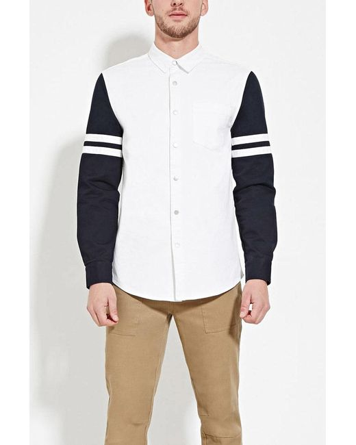 Forever 21 | Blue Striped-sleeve Cotton Shirt for Men | Lyst