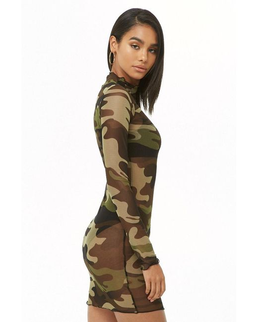 a6e7db64c099e ... Forever 21 - Green Sheer Mesh Camo Dress - Lyst
