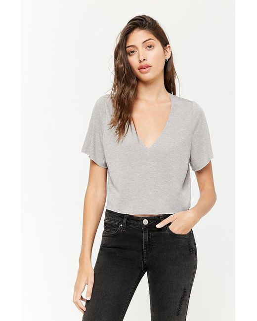 Forever 21 - Gray Marled V-neck Knit Top - Lyst