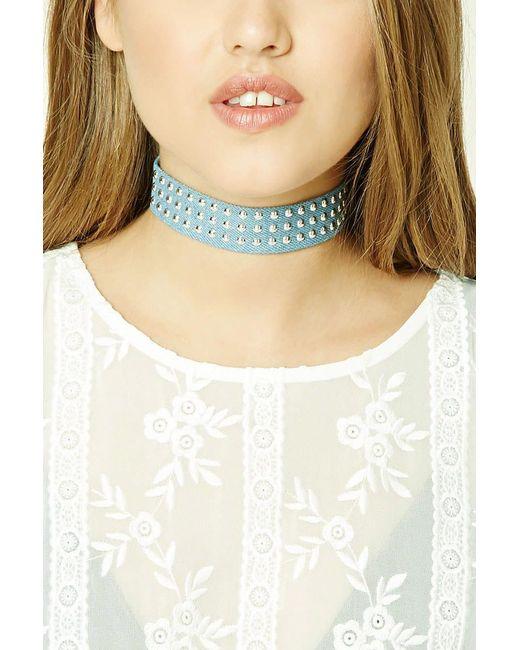 Forever 21 - Blue Women's Studded Denim Choker Necklace - Lyst