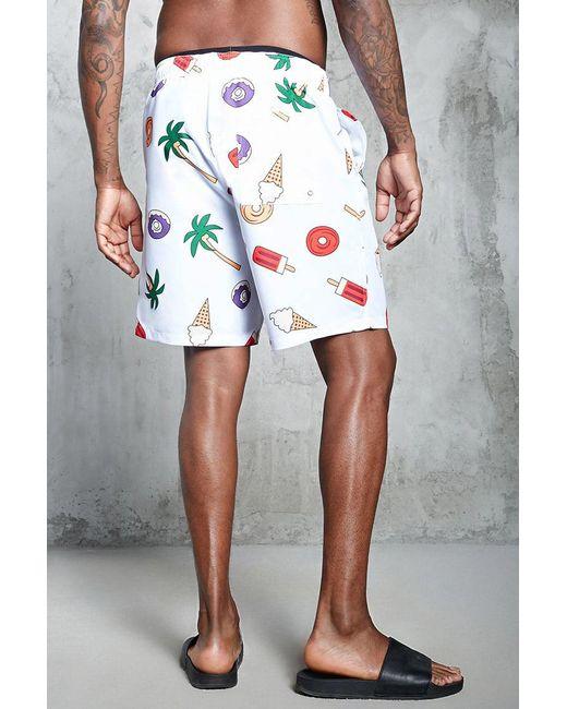 ... Forever 21 | White Ocean Print Swim Trunks for Men | Lyst ...
