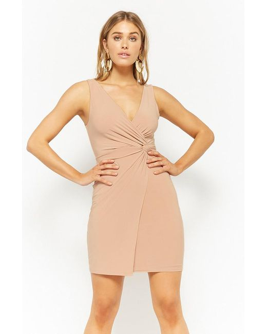 Forever 21 - Natural Women's Twist-front Bodycon Dress - Lyst